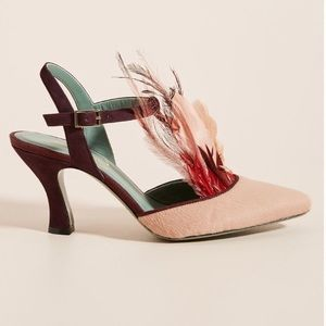 NWT Anthropologie Paola d'Arcano Feather Heels- 39